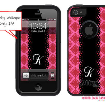 OTTERBOX Commuter iPhone 5 5S 5C 4/4S Case Damask Doily Initial Monogram