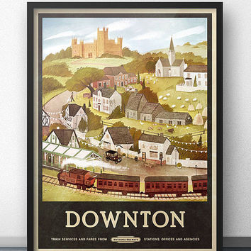 Downton Abbey Inspired Travel Poster - Vintage Retro Style