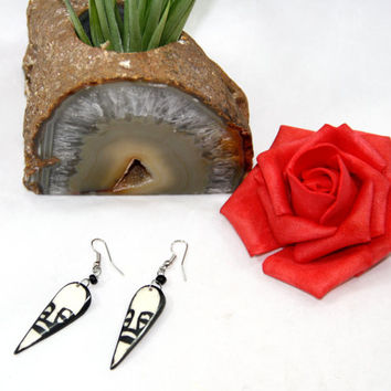 Black and White Ethnic/African Round Oval Mask Earrings - Zebra Inspired