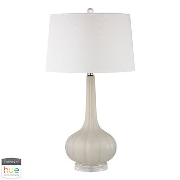 Abbey Lane Ceramic Table Lamp in Off White - with Philips Hue LED Bulb/Bridge