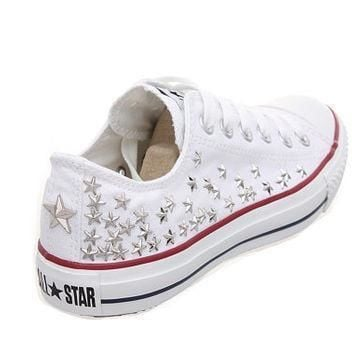 studded converse silver star studs with converse low top by customduo