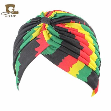 Women's new Fashion rasta Turban Indian Style Head Wrap Cap Hat Hair Cover Headband various print design