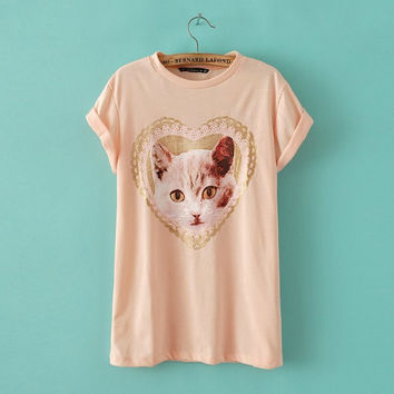 Summer Cats Pattern Cotton Short Sleeve Round-neck Tops T-shirts [6047715777]