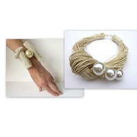 GIFT IDEA  Ivory Linen necklace with pearls and crochet bracelet / Shell / Organic Ivory Linen Bib /Bridal Necklace Gift