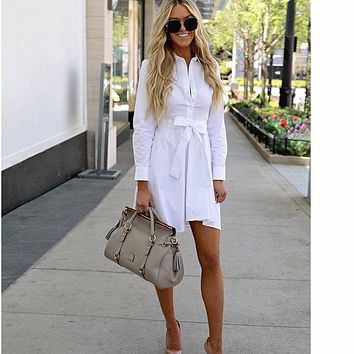 White Button Bow Tie Women Mini Shirt Dress Long Sleeve Turn Down Collar Office Womens Blouse Dresses 2018 Autumn Clothes