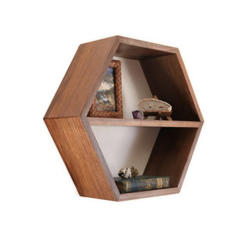 Modern Furniture - Geometric Shelf - Modern Shelf - Floating Shelf - Wood Wall Shelf - Minimalist Shelf - Mid Century - Honeycomb Hex Shelf