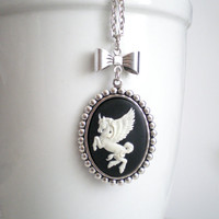 Pegasus Necklace. Bow Necklace. Unicorn Necklace. Greek Mythology. Mythological Creature. Gifts Under 25. Stocking Stuffer.