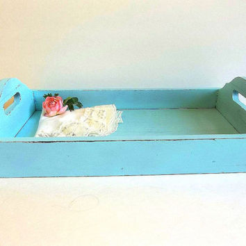 Shabby Cottage Chic Turquoise Aqua Blue distressed serving tray, breakfast tea party tray, wood painted Rustic, Beach Shabby Cottage Decor