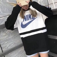 """""""Nike"""" Women Casual Vintage Multicolor Letter Print Long Sleeve Sweater Tops"""