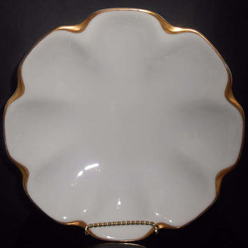 Haviland Limoges Silver Anniversary Gold & White Nappy Bowl Serving Schleiger 1894-1931