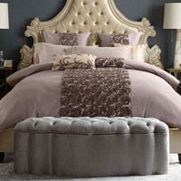 4/6 Pcs Cotton Luxury Roses Brand Designer Bedding Set King/Queen Size Brand Cotton Bed Sheet Comforter Cover /Pillowcases