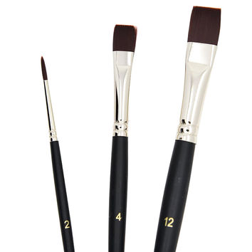 Brown Nylon Tipped Short Handle Acrylic Paint Brushes Set