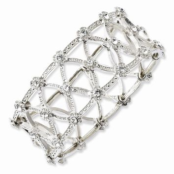 Silver-tone Clear Crystal Stretch Bracelet