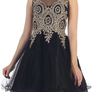 Trendy beaded gold embroidered short prom & homecoming dress Mq1261 - CLOSEOUT