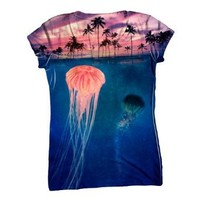 Yizzam Women's AnimalShirtsUSA- Jellyfish Sky Palm Tree -Tagless T-Shirt