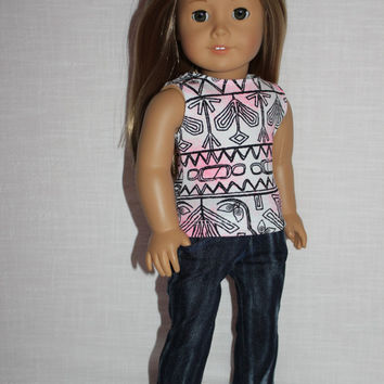 18 inch doll clothes, tribal print tank top, blue denim skinny jeans, american girl ,maplelea