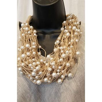 Flax and Pearls Necklace