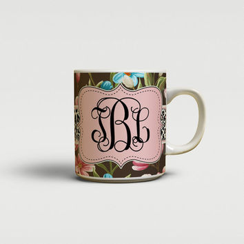 Unique gift for mom, Floral coffee mug, Black pink green flowers, Custom ceramic mug, Monogram mug, Monogram Tea mug, Unique drinks (1435)