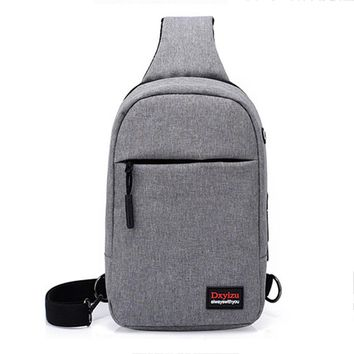 AFBC Men's external USB charging and headphone hole canvas backpack