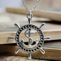 Sailing necklace, the necklace of the big silver anchor and rudder, bracelets, silver anchor anchor bracelet, one of the best gifts