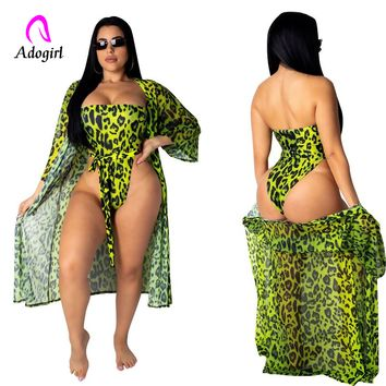 Chiffon Strapless Bodysuit Summer Women Beachwear Leopard 2 Piece Set Swimwear Female Cover Up Bathing Suit Cloak + Bodysuit