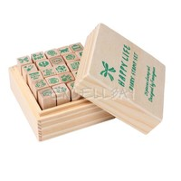 25pcs Happy Life Diary Stamp Set DIY Rubber Wooden Stamp with Wooden Box E0Xc