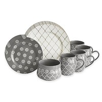 Baum Moroccan 16-Piece Dinnerware Set in Grey/Ivory