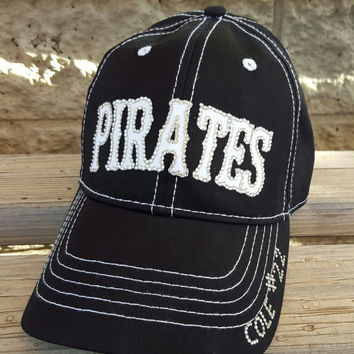 Custom baseball mom hat Pirates team hat either logo or name in your teams colors includes name and number