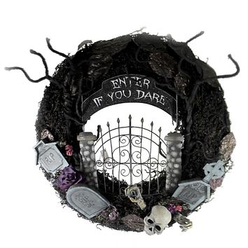 Halloween ENTER IF YOU DARE WREATH Polyresin Indoor Use Only 28728508