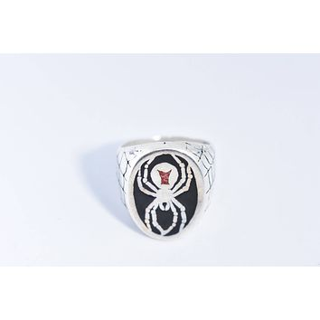 Vintage 1980's Native American Style Southwestern Stone Spider Inlay Men's Ring