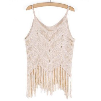 2016 limited handmade knitting crochet tank top unique tassel lace vest for womens summer gift 44 2
