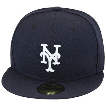 "New Era 59fifty New York Mets Authentic Baseball Fitted Hat Cap All Navy/White ""Yankee Hater"""