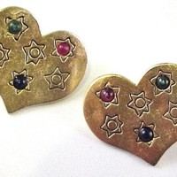 Vintage 1980s Matte Gold Tone Heart Pierced Earrings Stars Cabs