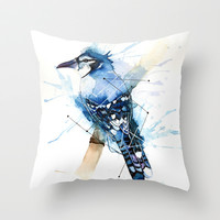 Blue Jay Throw Pillow by hannahclairehughes
