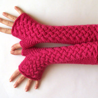 Fingerless Gloves Raspberry Pink Arm Warmers Women's Hand Warmers Long Fingerless Mittens Wool Knit Cable Gloves - KG0038 - Aimarro