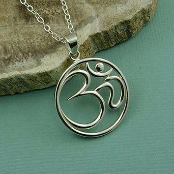 Large Om Necklace - sterling silver yoga jewelry - buddhist zen - christmas gift idea