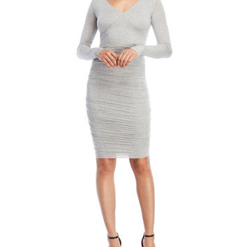 Ruched V-Neck Bodycon Dress