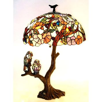 4 Light Tiffany-Style Featuring Flowers & Birds Double Lit Table Lamp Oval Shape
