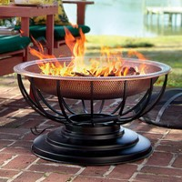 Solid Hammered Copper Fire Pit With Lid Converts To Table - Plow & Hearth