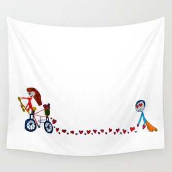 I'm in love | Be my Valentine | Kids Painting Wall Tapestry by Azima