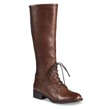 French Blu Women's Lace Up Tall Boots - Light Brown