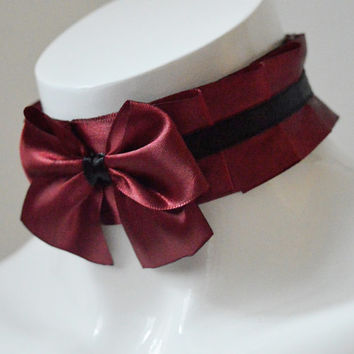 Gothic lolita choker - Gifted passion - pleated collar necklace - kitten play cgl dark victorian goth fantasy costume collar - black and red
