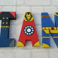 Superhero Letters. Personalised Hand Painted Papier Mache Name Initials. 3 letters only. MADE TO ORDER