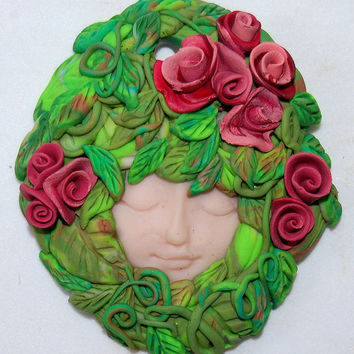 Red Roses Green Woman Sculpture, Mother Earth, Earth Mother, Pagan Gaia Art, Gaia Demeter Wall Deco