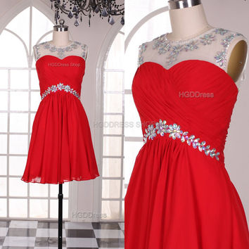 Red Bridesmaid Dress Handmade beading/Crystal Rhinestone Chiffon Prom Dresses Short Prom Dress Party Dress Red Formal Dress Evening Dress