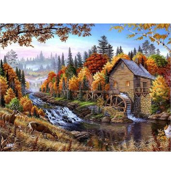 DIY oil painting by numbers canvas picture adult coloring paint acrylic painting calligraphy by number wall decor landscape Y067