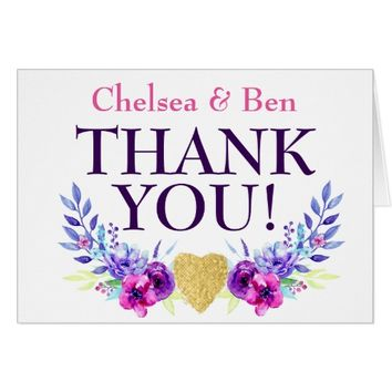 Purple & Pink Watercolor Floral Wedding Thank You Card