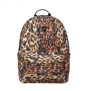 Waterproof canvas leopard backpack music stave women's fashion printing school bag college student big casual travel laptop bags