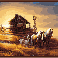 (Framed) Harvest Landscape Picture Painting By Numbers DIY Canvas Oil Painting Home Decor For Living Room oil painting 40*50cm