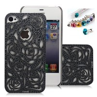 CocoZ® romantic Black Rose Carved Palace Fashion Design Hard Case Cover Skin Protector for Iphone 4/4s At&t Sprint Verizon Retail Packing(pc) H013